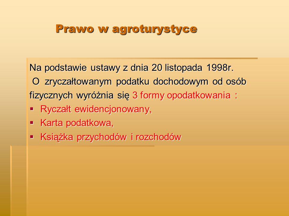 Prawo w agroturystyce Na podstawie ustawy z dnia 20 listopada 1998r.