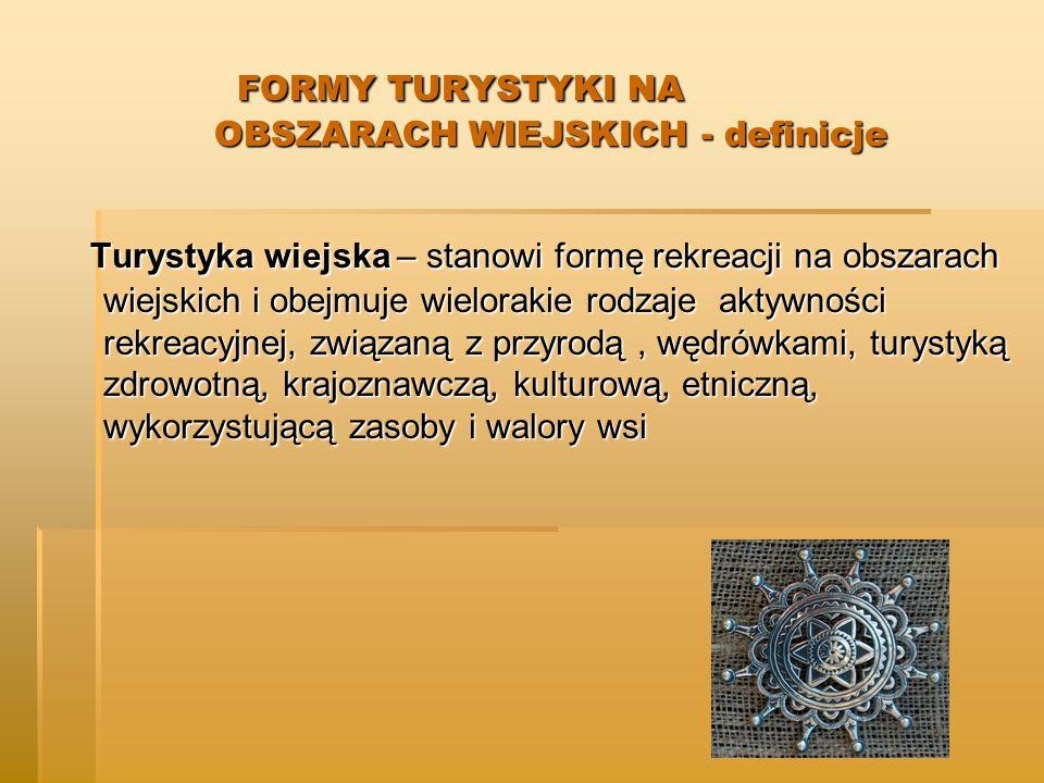 FORMY TURYSTYKI NA OBSZARACH WIEJSKICH - definicje