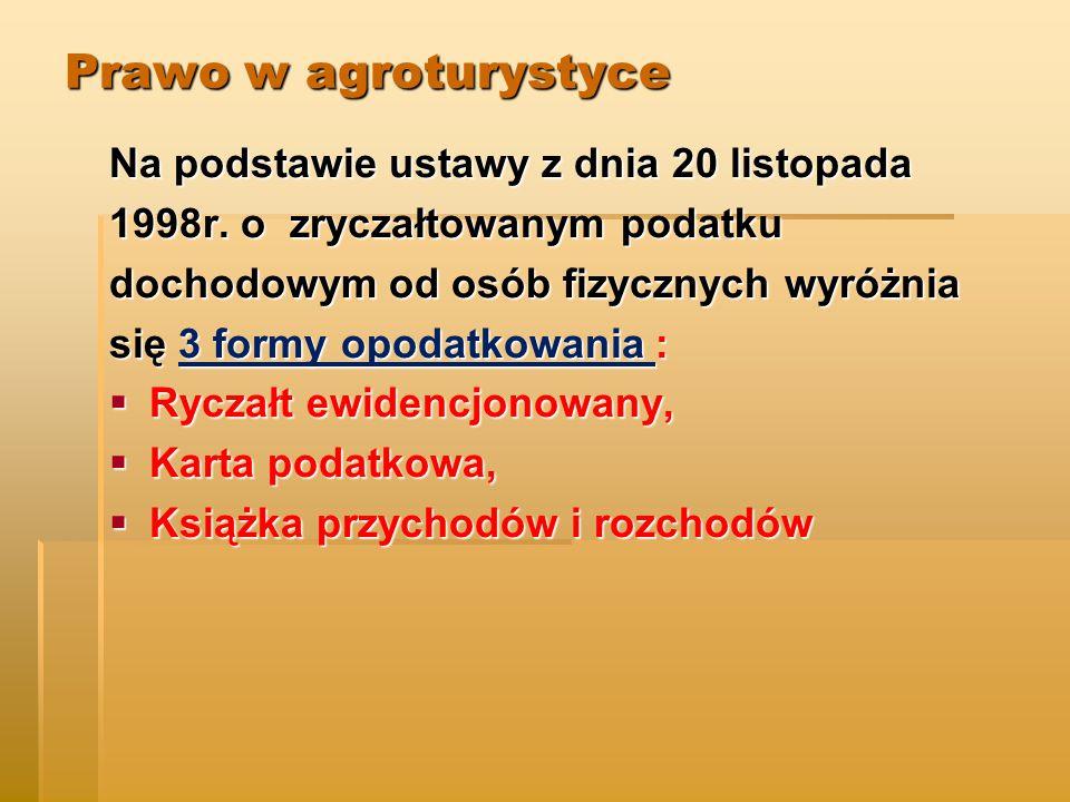 Prawo w agroturystyce Na podstawie ustawy z dnia 20 listopada