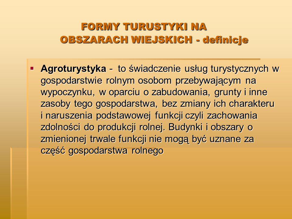FORMY TURUSTYKI NA OBSZARACH WIEJSKICH - definicje