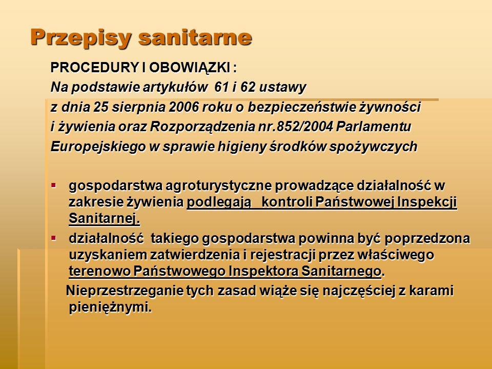 Przepisy sanitarne PROCEDURY I OBOWIĄZKI :