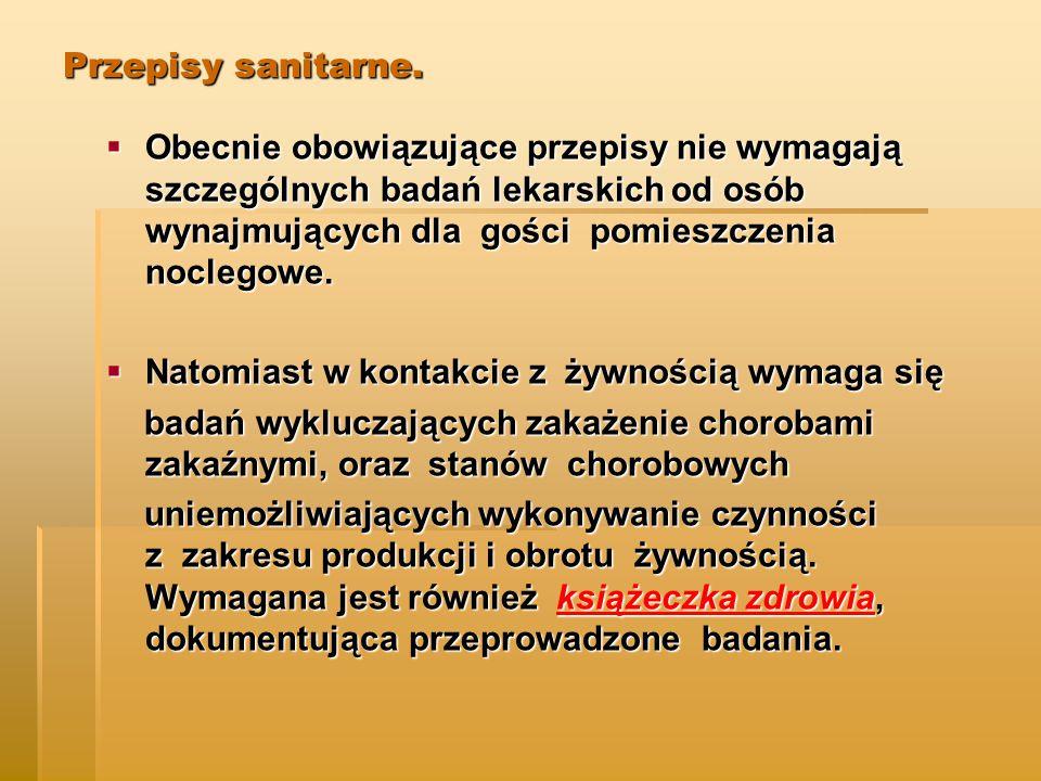 Przepisy sanitarne.