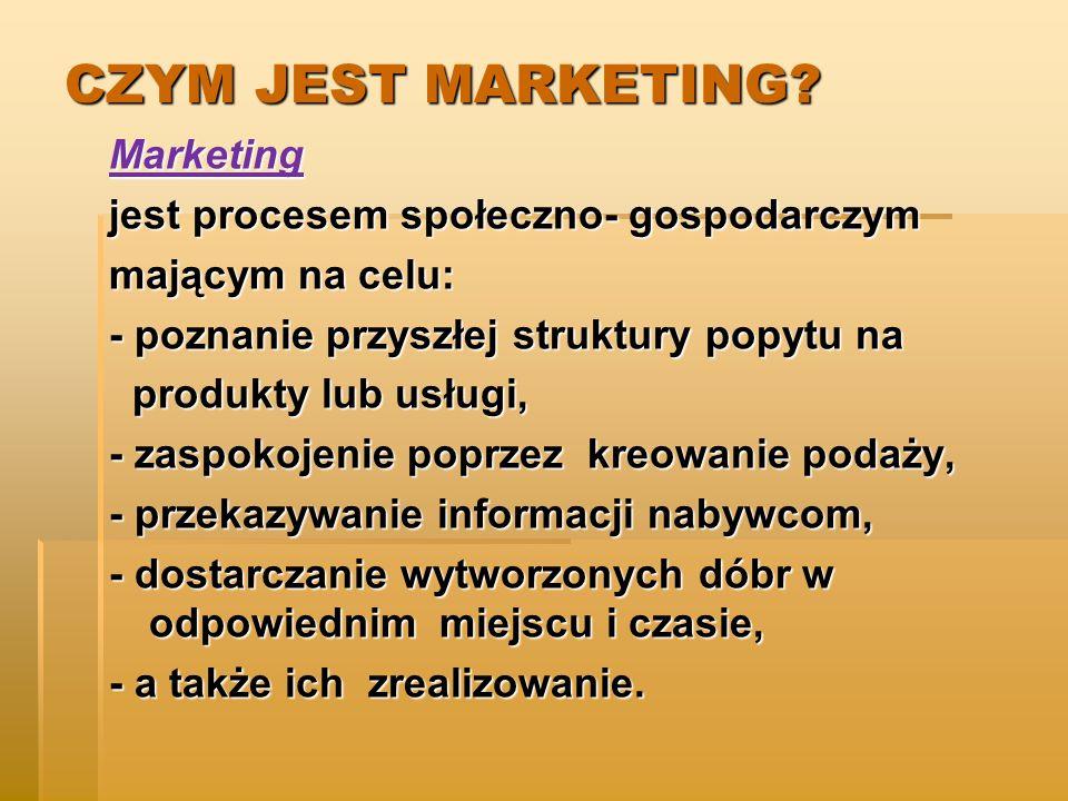 CZYM JEST MARKETING Marketing jest procesem społeczno- gospodarczym