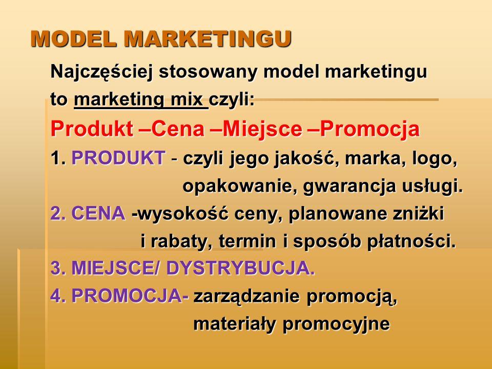 Produkt –Cena –Miejsce –Promocja