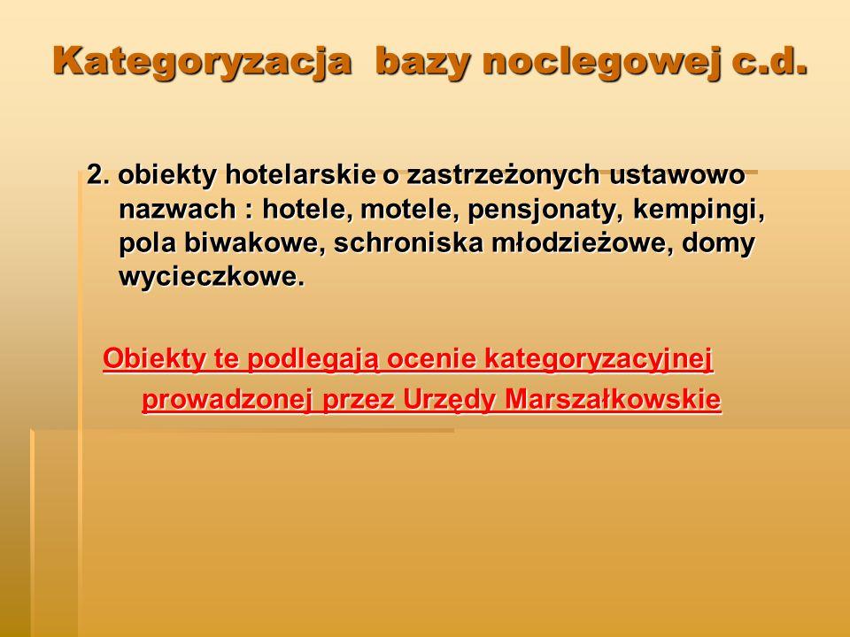 Kategoryzacja bazy noclegowej c.d.