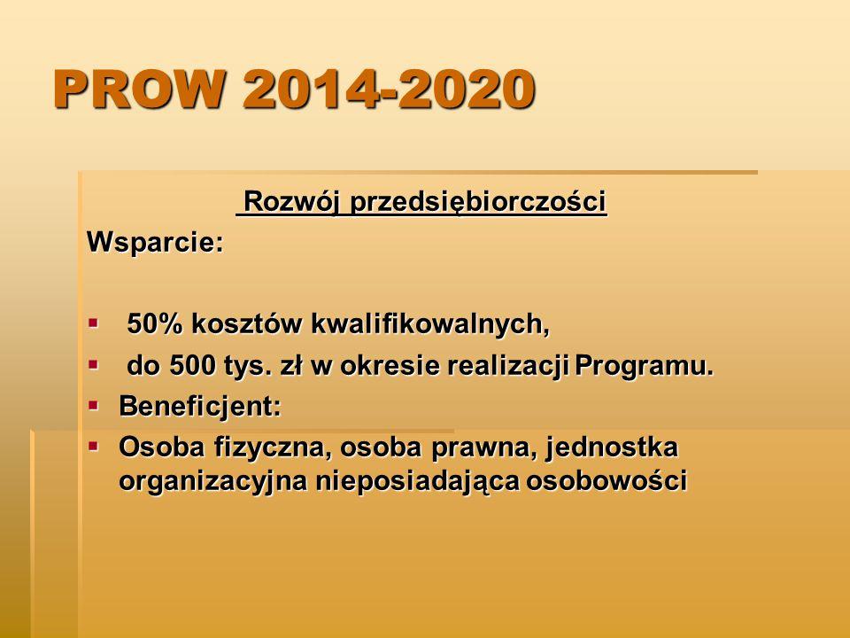 PROW 2014-2020 Rozwój przedsiębiorczości Wsparcie: