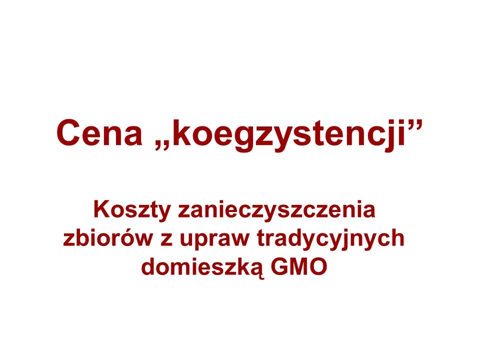 Koszty zanieczyszczenia zbiorów z upraw tradycyjnych domieszką GMO