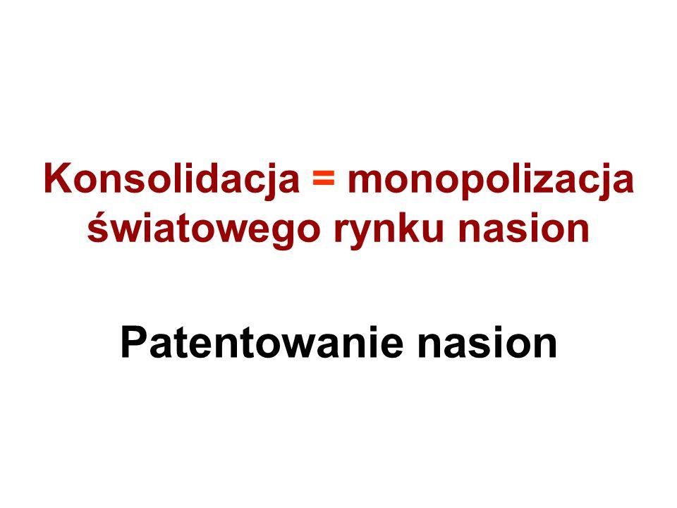 Konsolidacja = monopolizacja światowego rynku nasion