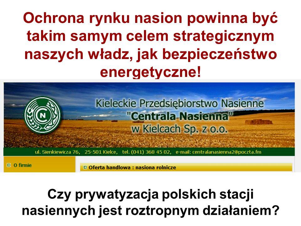 Ochrona rynku nasion powinna być takim samym celem strategicznym naszych władz, jak bezpieczeństwo energetyczne!