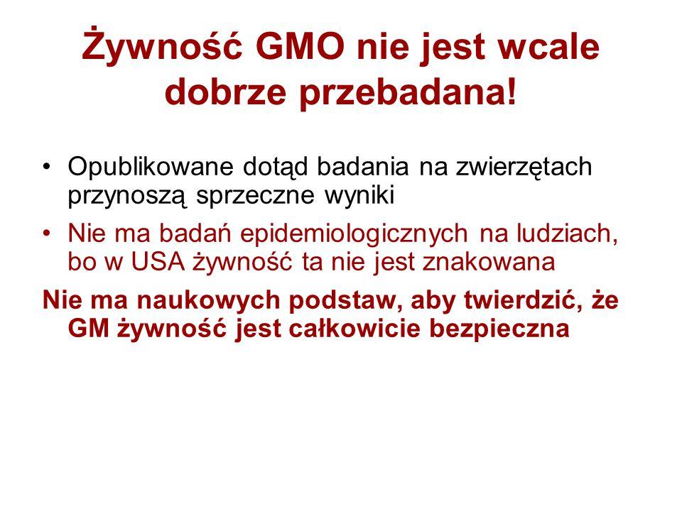Żywność GMO nie jest wcale dobrze przebadana!