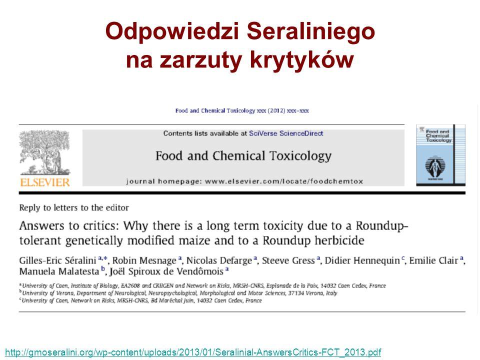 Odpowiedzi Seraliniego na zarzuty krytyków
