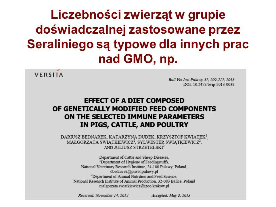 Liczebności zwierząt w grupie doświadczalnej zastosowane przez Seraliniego są typowe dla innych prac nad GMO, np.