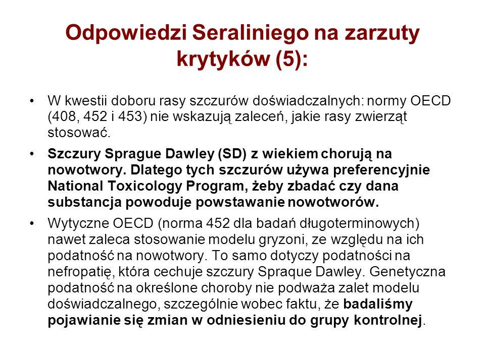 Odpowiedzi Seraliniego na zarzuty krytyków (5):