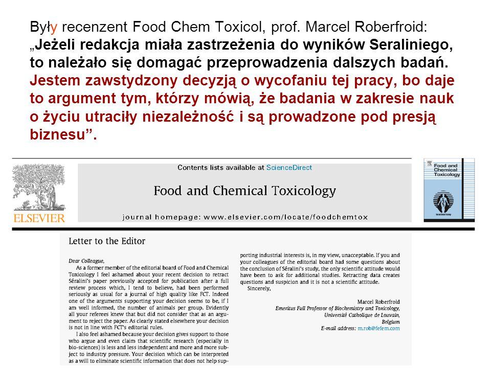 Były recenzent Food Chem Toxicol, prof