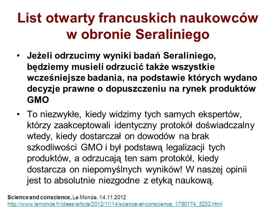 List otwarty francuskich naukowców w obronie Seraliniego