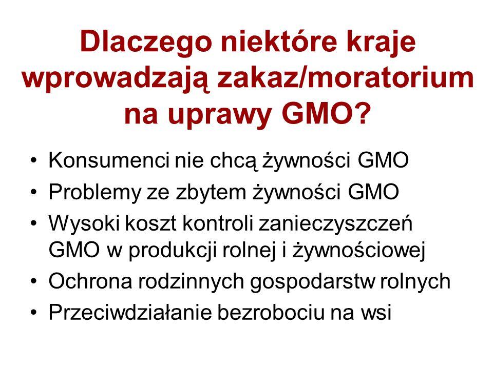 Dlaczego niektóre kraje wprowadzają zakaz/moratorium na uprawy GMO