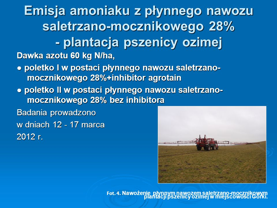 Emisja amoniaku z płynnego nawozu saletrzano-mocznikowego 28% - plantacja pszenicy ozimej