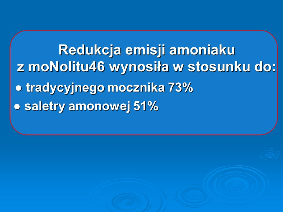 Redukcja emisji amoniaku z moNolitu46 wynosiła w stosunku do: