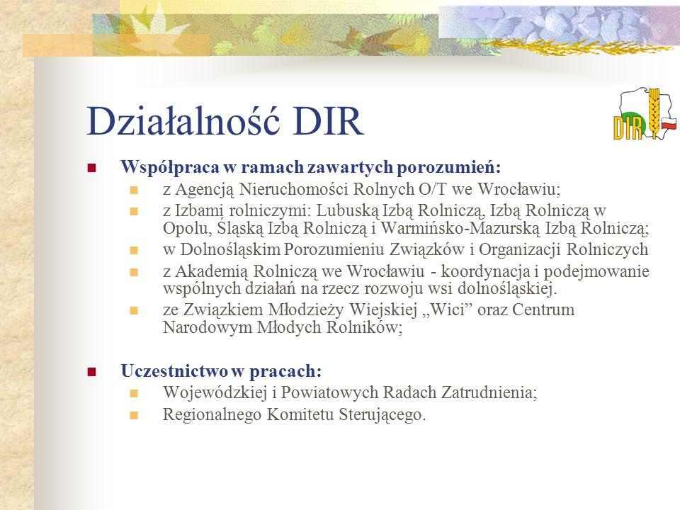 Działalność DIR Współpraca w ramach zawartych porozumień: