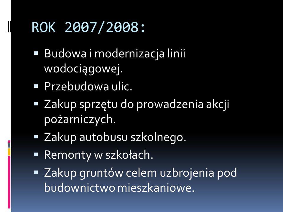 ROK 2007/2008: Budowa i modernizacja linii wodociągowej.