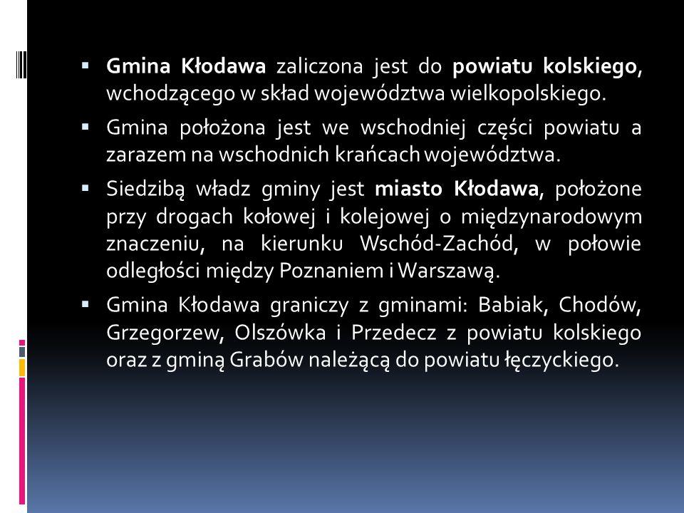 Gmina Kłodawa zaliczona jest do powiatu kolskiego, wchodzącego w skład województwa wielkopolskiego.