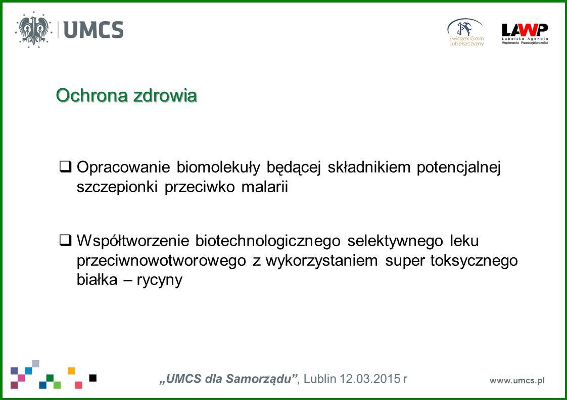 Ochrona zdrowia Opracowanie biomolekuły będącej składnikiem potencjalnej szczepionki przeciwko malarii.