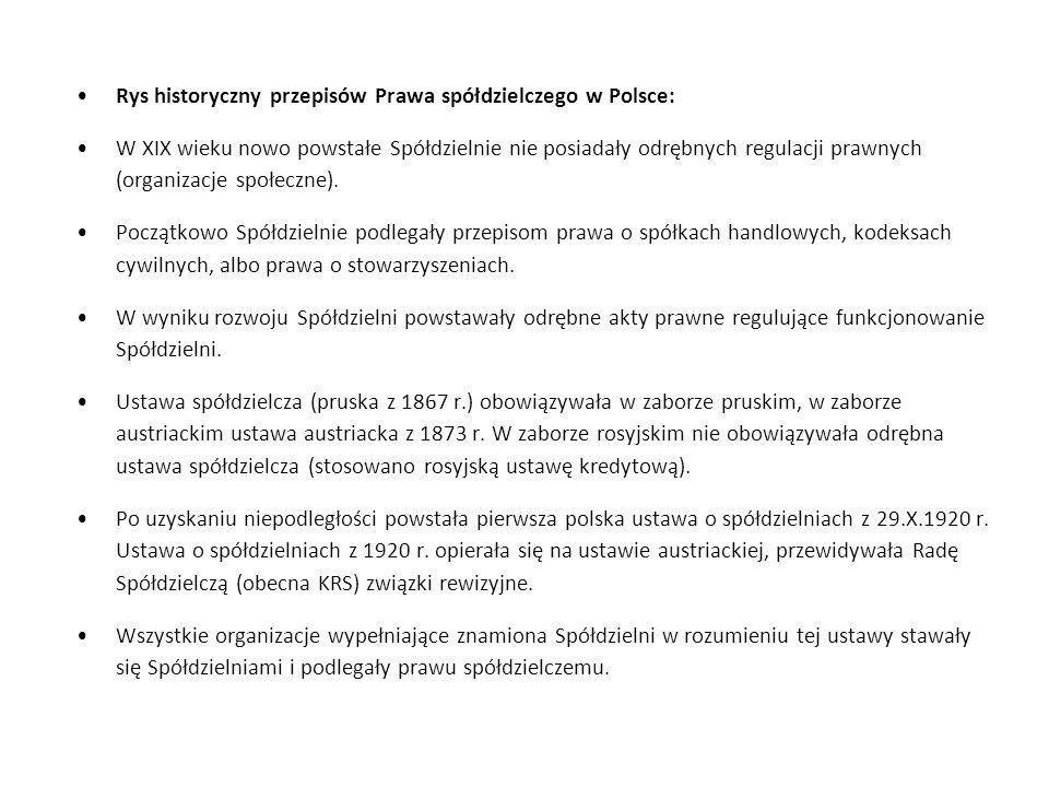 Rys historyczny przepisów Prawa spółdzielczego w Polsce: