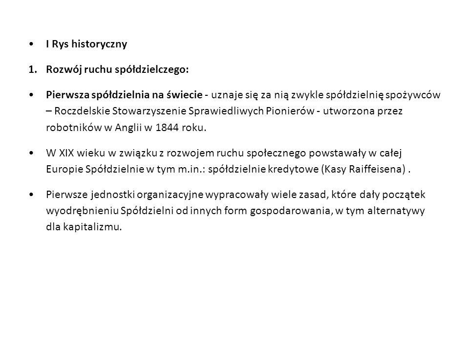 I Rys historyczny Rozwój ruchu spółdzielczego: