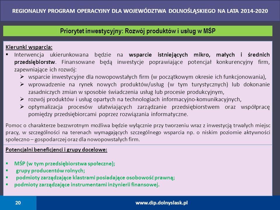 Priorytet inwestycyjny: Rozwój produktów i usług w MŚP