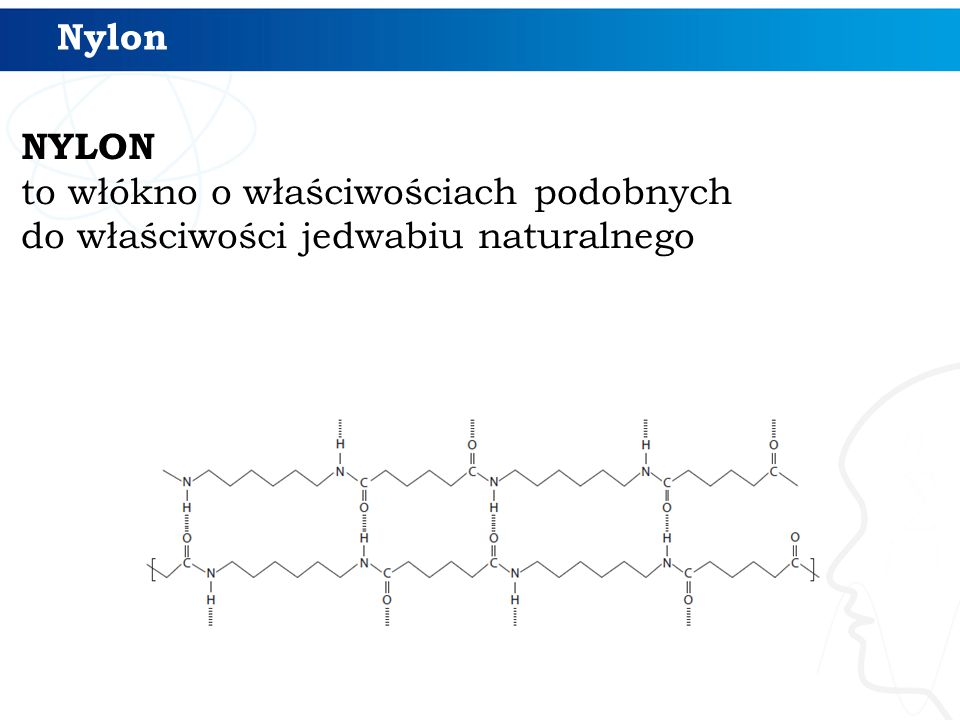 Nylon NYLON to włókno o właściwościach podobnych do właściwości jedwabiu naturalnego
