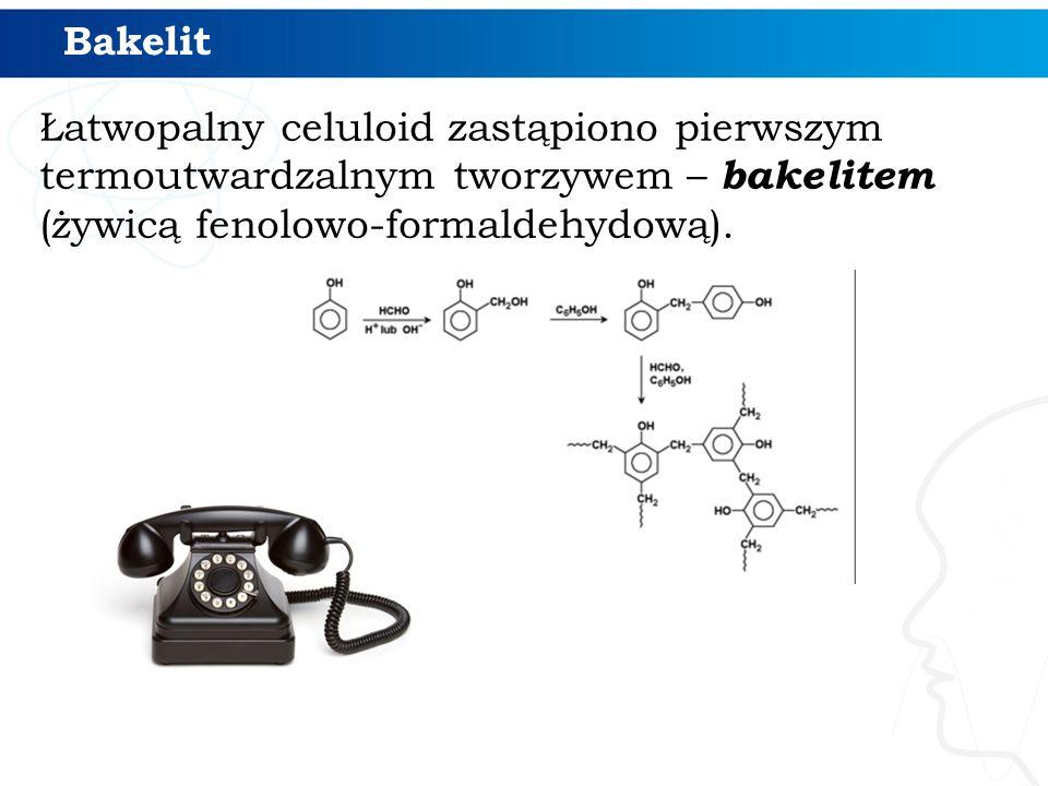 Bakelit Łatwopalny celuloid zastąpiono pierwszym termoutwardzalnym tworzywem – bakelitem (żywicą fenolowo-formaldehydową).