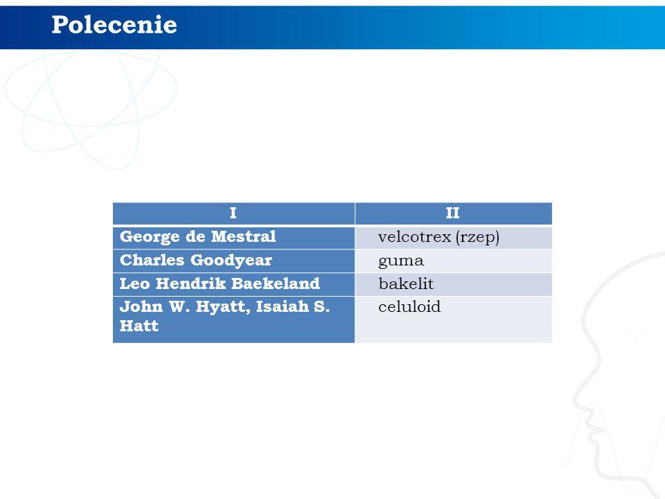 Polecenie I II George de Mestral velcotrex (rzep) Charles Goodyear