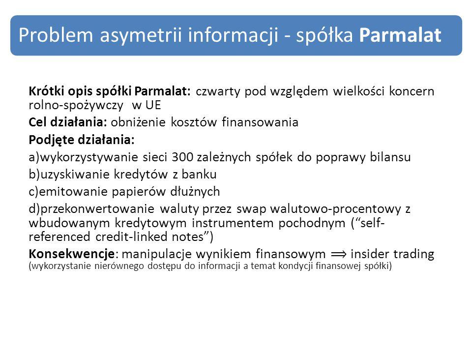 Problem asymetrii informacji - spółka Parmalat