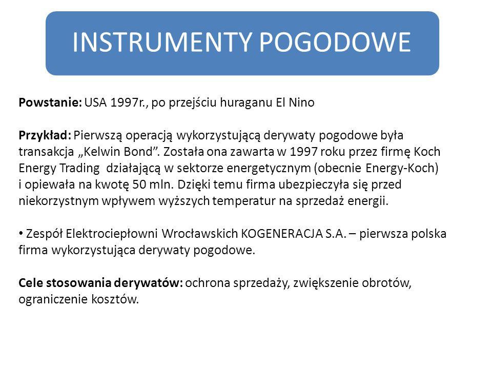 INSTRUMENTY POGODOWE Powstanie: USA 1997r., po przejściu huraganu El Nino.