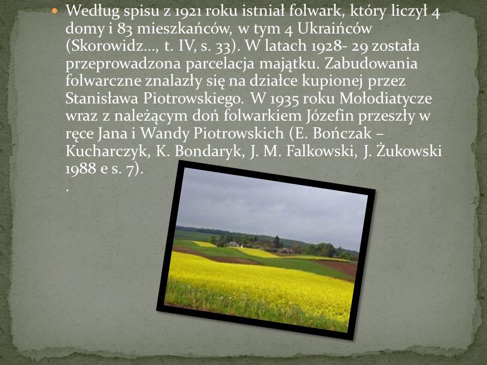 Według spisu z 1921 roku istniał folwark, który liczył 4 domy i 83 mieszkańców, w tym 4 Ukraińców (Skorowidz…, t.