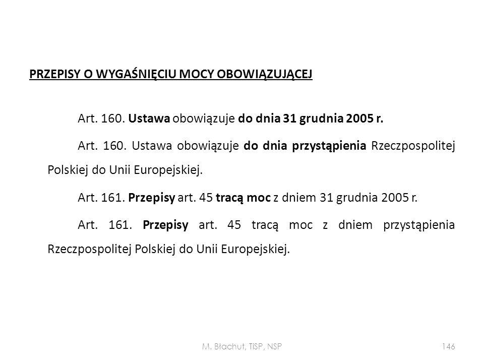 PRZEPISY O WYGAŚNIĘCIU MOCY OBOWIĄZUJĄCEJ Art. 160