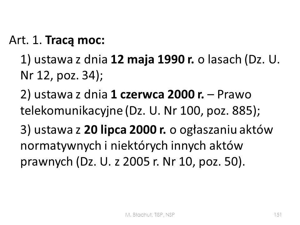 Art. 1. Tracą moc: 1) ustawa z dnia 12 maja 1990 r. o lasach (Dz. U