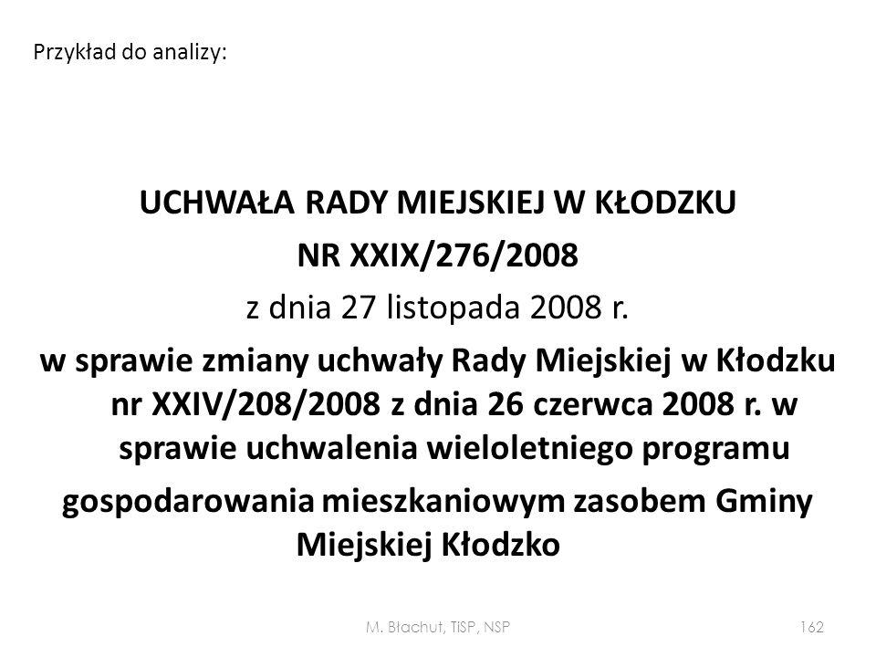 UCHWAŁA RADY MIEJSKIEJ W KŁODZKU NR XXIX/276/2008