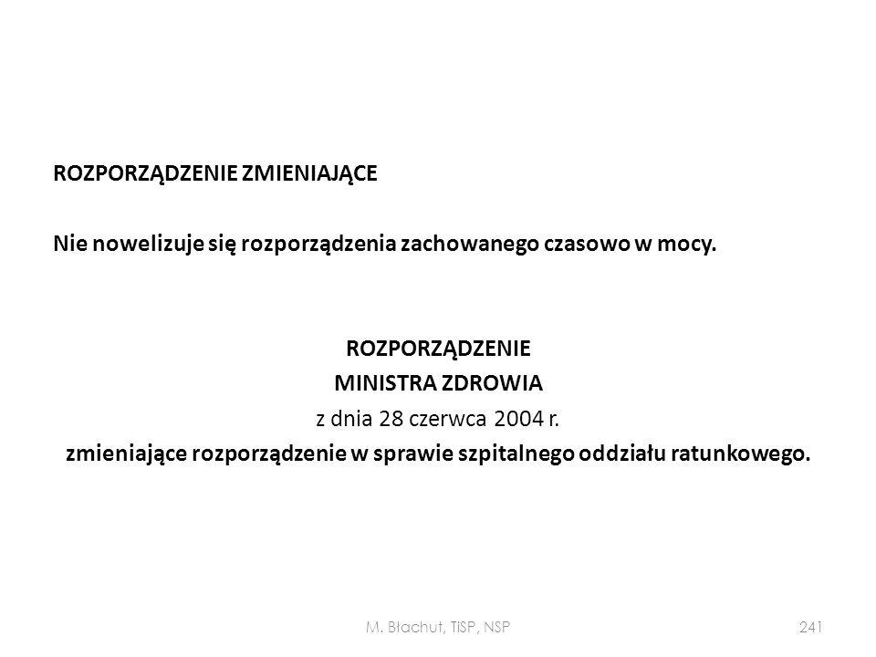 ROZPORZĄDZENIE ZMIENIAJĄCE Nie nowelizuje się rozporządzenia zachowanego czasowo w mocy. ROZPORZĄDZENIE MINISTRA ZDROWIA z dnia 28 czerwca 2004 r. zmieniające rozporządzenie w sprawie szpitalnego oddziału ratunkowego.