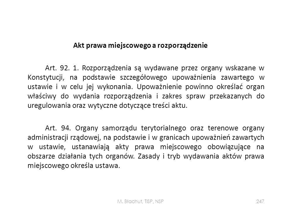 Akt prawa miejscowego a rozporządzenie Art. 92. 1
