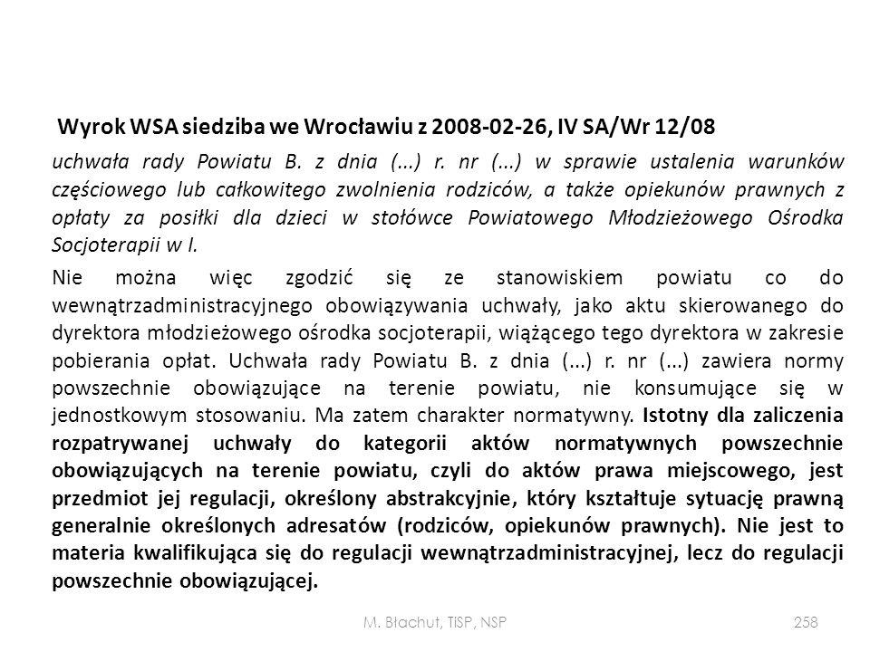 Wyrok WSA siedziba we Wrocławiu z 2008-02-26, IV SA/Wr 12/08