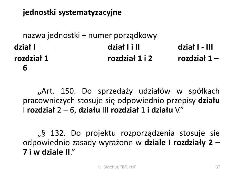 nazwa jednostki + numer porządkowy dział I dział I i II dział I - III