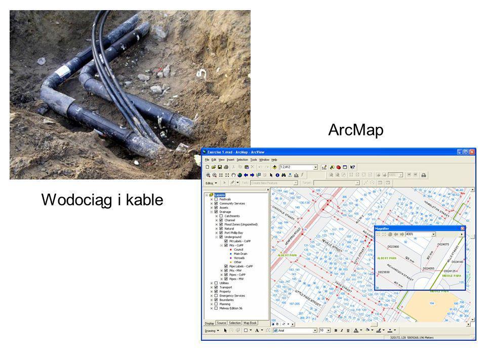 ArcMap Wodociąg i kable