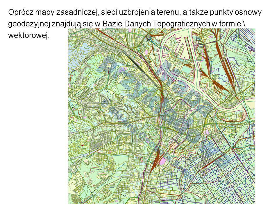 Oprócz mapy zasadniczej, sieci uzbrojenia terenu, a także punkty osnowy