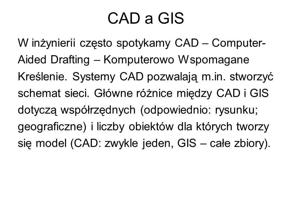 CAD a GIS W inżynierii często spotykamy CAD – Computer-