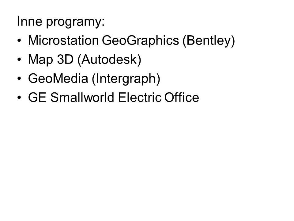 Inne programy: Microstation GeoGraphics (Bentley) Map 3D (Autodesk) GeoMedia (Intergraph) GE Smallworld Electric Office.