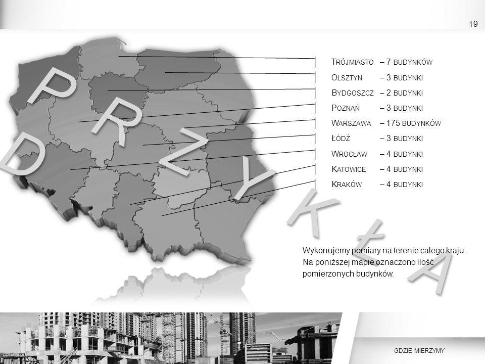 P R Z Y K Ł A D 19 Trójmiasto – 7 budynków Olsztyn – 3 budynki