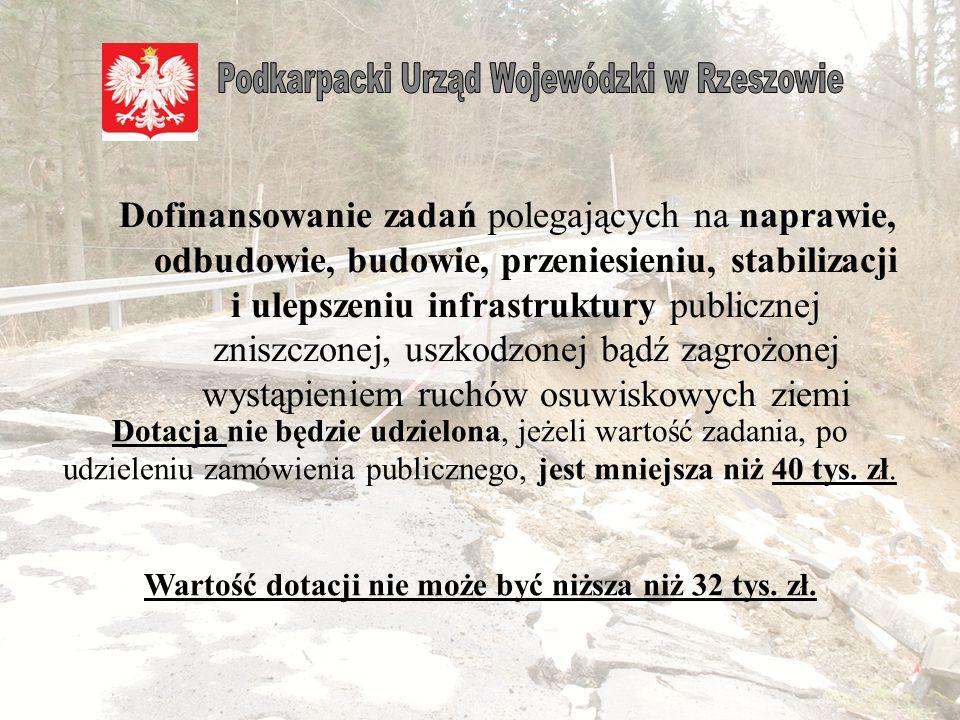 Wartość dotacji nie może być niższa niż 32 tys. zł.