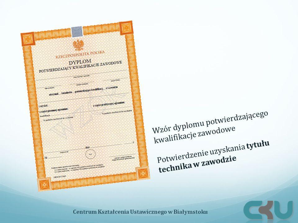 Wzór dyplomu potwierdzającego kwalifikacje zawodowe