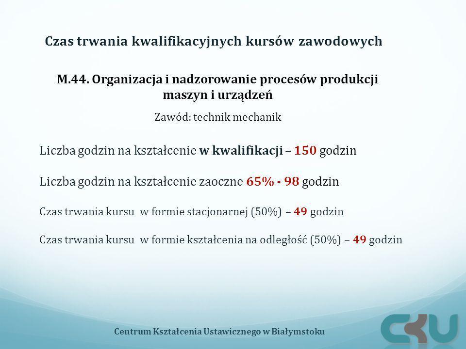 M.44. Organizacja i nadzorowanie procesów produkcji maszyn i urządzeń